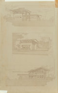 Prints:American, Frank Lloyd Wright (American, 1867-1959). Three typical housesfor Mr. E. C. Waller, River Forest, Illinois, 1909. Litho...