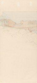 Fine Art - Work on Paper:Drawing, After Frank Lloyd Wright (American, 1867-1959). George SturgesHouse, perspective, 1939. Colored pencil on Japan paper. ...