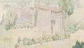 Fine Art - Work on Paper:Drawing, After Frank Lloyd Wright (American, 1867-1959). Perspective withpool of the community playhouse (The Little Dipper), Oliv...