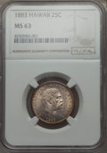 Coins of Hawaii , 1883 25C Hawaii Quarter MS63 NGC. NGC Census: (192/503). PCGSPopulation (311/643). Mintage: 242,600. ...