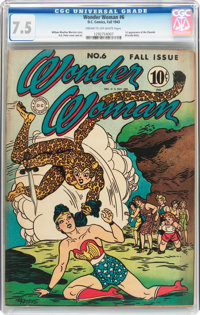 Wonder Woman #6 (DC, 1943) CGC VF- 7.5 Cream to off-white pages