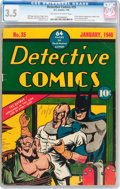 Golden Age (1938-1955):Superhero, Detective Comics #35 (DC, 1940) CGC VG- 3.5 Off-white to whitepages....