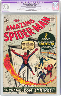The Amazing Spider-Man #1 (Marvel, 1963) CGC Apparent FN/VF 7.0 Slight (C-1) Off-white to white pages