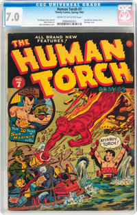 The Human Torch #7 (Timely, 1942) CGC FN/VF 7.0 Cream to off-white pages