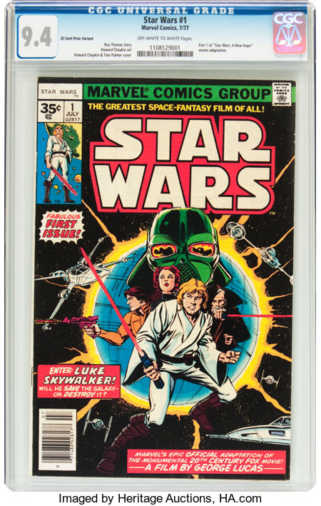 Star Wars #1 35¢ Variant (Marvel, 1977) CGC NM 9.4 Off-white to white pages....