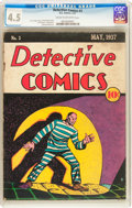 Platinum Age (1897-1937):Miscellaneous, Detective Comics #3 (DC, 1937) CGC VG+ 4.5 Cream to off-white pages....