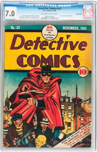 Detective Comics #22 Billy Wright Pedigree (DC, 1938) CGC FN/VF 7.0 Off-white to white pages