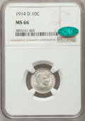 Barber Dimes: , 1914-D 10C MS66 NGC. CAC. NGC Census: (13/8). PCGS Population(20/3). Mintage: 11,908,000. Numismedia Wsl. Price for proble...