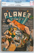 Golden Age (1938-1955):Science Fiction, Planet Comics #18 (Fiction House, 1942) CGC VG 4.0 Light tan tooff-white pages....