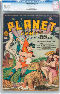 Planet Comics #14 (Fiction House, 1941) CGC VG/FN 5.0 Off-white pages