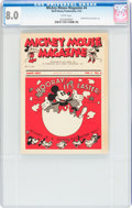 Platinum Age (1897-1937):Miscellaneous, Mickey Mouse Magazine Dairy Giveaway V1#4 (Walt Disney Productions,1934) CGC VF 8.0 White pages....