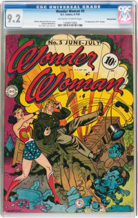 Wonder Woman #5 Pennsylvania Pedigree (DC, 1943) CGC NM- 9.2 Off-white to white pages