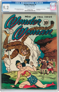 Wonder Woman #6 Rockford Pedigree (DC, 1943) CGC NM- 9.2 Off-white to white pages