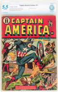 Golden Age (1938-1955):Superhero, Captain America Comics #11 (Timely, 1942) CBCS FN- 5.5 Off-white pages....