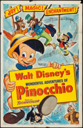"Movie Posters:Animation, Pinocchio (RKO, R-1954). One Sheet (27"" X 41""). Animation.. ..."