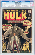 Silver Age (1956-1969):Superhero, The Incredible Hulk #1 (Marvel, 1962) CGC FN- 5.5 Off-white towhite pages....