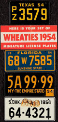 Non-Sport Cards:Singles (Pre-1950), 1953-54 Wheaties Mini License Plate Complete Set (48) Plus Districtof Columbia....