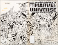 Keith Pollard and Joe Rubinstein Official Handbook of the Marvel Universe Deluxe Edition #20 Wrap-Around Cover Ori