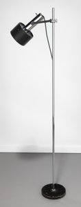 Decorative Arts, Continental:Lamps & Lighting, Angelo Lelli (Italian, 20th Century). Floor Lamp, circa1960, Lightolier. Chrome, enameled steel. 57-5/8 inches high (14...