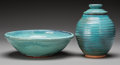 Ceramics & Porcelain, Harding Black (American, 1912-2004). Bowl and Jar, 1968 & 1976. Terracotta with oxidation blue glaze. 8 inches high (20.... (Total: 2 Items)