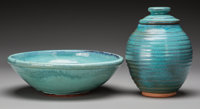 Harding Black (American, 1912-2004) Bowl and Jar, 1968 & 1976 Terracotta with oxidation blue glaze
