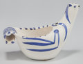 Sculpture, Pablo Picasso (1881-1973). Dove Subject, 1959. Glazed white earthenware pitcher painted in blue. 6 x 9 x 4-1/2 inches (1...