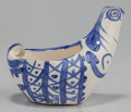 Ceramics & Porcelain, Pablo Picasso (1881-1973). Hen subject, 1954. Glazed white earthenware pitcher painted in blue. 5-1/2 x 6-1/2 x 4-1/2 in...
