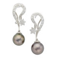 Estate Jewelry:Earrings, South Sea Cultured Pearl, Diamond, White Gold Earrings. ... (Total: 2 Items)