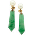 Estate Jewelry:Earrings, Jadeite Jade, Cultured Pearl, Gold Earrings. ...