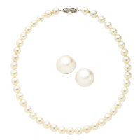 Cultured Pearl, White Gold, White Metal Jewelry Suite