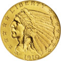 Proof Indian Quarter Eagles: , 1910 $2 1/2 PR66 NGC. The first of three experimental finish goldcoins in this auction, and a rare opportunity for the col...