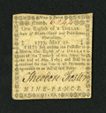 Colonial Notes:Rhode Island, Rhode Island May 22, 1777 $1/8 Extremely Fine. A couple of smalltears are found on this scarce and otherwise exceptional Rh...