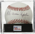 Autographs:Baseballs, Warren Spahn Single Signed Baseball, PSA NM-MT 8. ONL (Giamatti)ball boasts a fantastic sweet spot signature from this Hal...