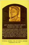 Autographs:Post Cards, Dizzy Dean Signed Gold Hall of Fame Plaque. Hall of Fame fireballerDizzy Dean has signed the reverse of the offered gold H...
