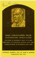 Autographs:Post Cards, Ford Frick Signed Hall of Fame Postcard. Hall of Fame exec FordFrick has gracefully applied his signature to the front of ...