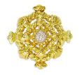 Estate Jewelry:Brooches - Pins, Diamond, Gold Pendant-Brooch, David Webb. The oversizedthree-dimensional medallion style pendant-brooch featuresfull-cut...