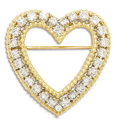 Estate Jewelry:Brooches - Pins, Diamond, Gold Brooch. The heart-shaped brooch features full-cutdiamonds weighing a total of approximately 2.00 carats, se...