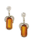 Estate Jewelry:Earrings, Citrine, Diamond, Gold Earrings, H. Stern. Each drop earringfeatures a modified rectangle-shaped citrine measuring 19.00 ...