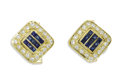 Estate Jewelry:Cufflinks, Gentleman's Diamond, Sapphire, Gold Cuff Links. Each link featurescalibre-cut sapphires, framed by full-cut diamonds, set... (Total:2 Pieces)