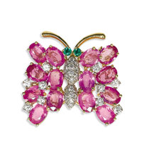 Pink Sapphire, Diamond, Emerald, Gold Brooch, Oscar Heyman  The brooch, designed as a butterfly, features oval-shaped pi...