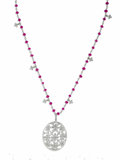 Estate Jewelry:Pendants and Lockets, Diamond, Ruby, Platinum Pendant-Necklace, Cathy Waterman. The oval-shaped pendant features full-cut diamonds, set in an op...