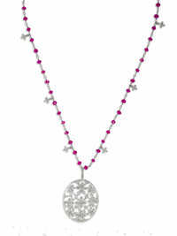 Diamond, Ruby, Platinum Pendant-Necklace, Cathy Waterman  The oval-shaped pendant features full-cut diamonds, set in an...