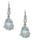 Estate Jewelry:Earrings, Aquamarine, Diamond, Platinum Earrings, Cathy Waterman. Eachplatinum earring suspends an oval-shaped aquamarine measuring...(Total: 2 Pieces)