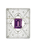 Estate Jewelry:Brooches - Pins, Edwardian Amethyst, Diamond, Platinum Brooch. Therectangular-framed brooch has an openwork and garland design,highlighte...