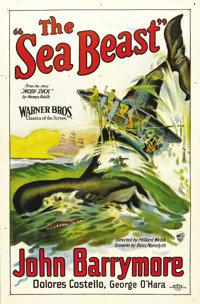 "The Sea Beast (Warner Brothers, 1926). One Sheet (27"" X 41"") Style A. The Warner Brothers brought John Barrymo..."