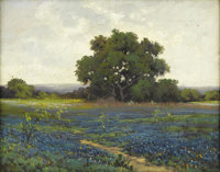 ROBERT WOOD (G. DAY) (1889-1979) Bluebonnets Oil on canvas 11in. x 14in. Signed lower right  An early Robert Wood