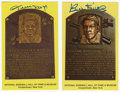Autographs:Post Cards, Signed Gold Hall of Fame Plaques Lot of 2. Bill Dickey and Willie Mays have each applied a high-quality blue sharpie signat...