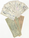 Boxing Collectibles:Autographs, Jake and Vikki LaMotta Signed Checks Lot of 18. While JakeLaMotta's pugilistic career was the subject of the filmRaging... (Total: 18 items)