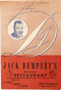Boxing Collectibles:Autographs, Jack Dempsey Signed Menu. The restaurant Jack Dempsey's became apopular night spot for New Yorkers from the Hall of Fame b...