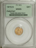 Commemorative Gold: , 1915-S G$1 Panama-Pacific Gold Dollar MS65 PCGS. Orange, ice-blue,and plum shades confirm the originality of this lustrous...